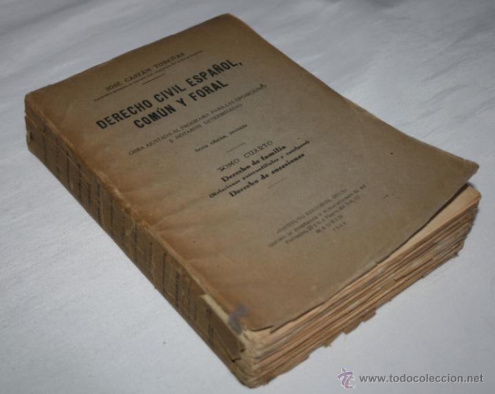 Libros de segunda mano: DERECHO CIVIL ESPAÑOL COMUN Y FORAL TOMO CUARTO, JOSE CASTAN TOBEÑAS, EDITORIAL REUS 1944 - Foto 2 - 53262065