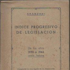 Libros de segunda mano: ÍNDICE PROGRSIVO DE LEGISLACIÓN DE LOS AÑOS 1930 A 1944, ED. ARANZADI 1945 PAMPLONA. Lote 53273841