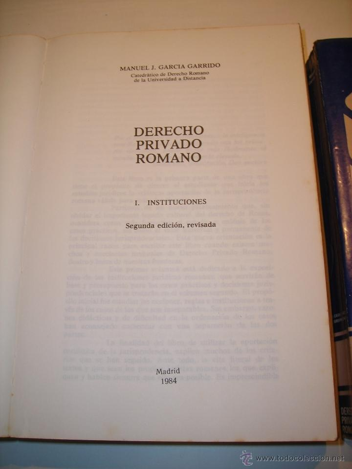 Libros de segunda mano: Derecho Privado Romano (Tomo I- Instituciones. Tomo II-Casos y Decisiones Jurisprudenciales). - Foto 2 - 53751801