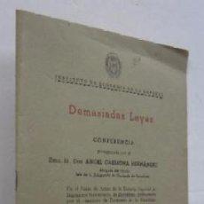 Libros de segunda mano: DEMASIDAS LEYES - CONFERENCIA PRONUNCIADA POR D. ANGEL CARMONA HERNANDEZ. Lote 53879602