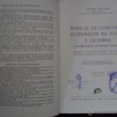 Libros de segunda mano - Manual de Concurso, suspensión de pagos y quiebra, Arturo Majada, ed. Bosch, 1974 - 54207097