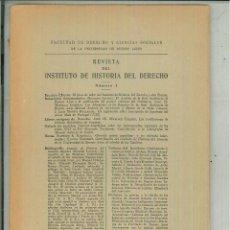 Libros de segunda mano: REVISTA DEL INSTITUTO DE HISTORIA DEL DERECHO RICARDO LEVENE Nº 1 AL 22. Lote 54470065