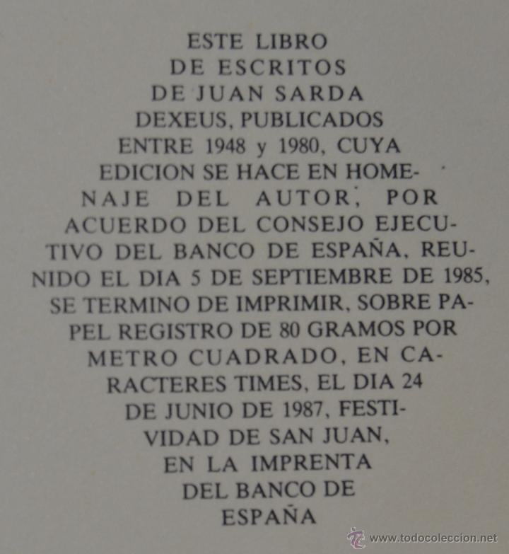 ESCRITOS (1948-1980) JUAN SARDA DEXEUS. BANCO DE ESPAÑA - DEDICATORIA AUTOR A MARIANO RUBIO (Libros de Segunda Mano - Ciencias, Manuales y Oficios - Derecho, Economía y Comercio)