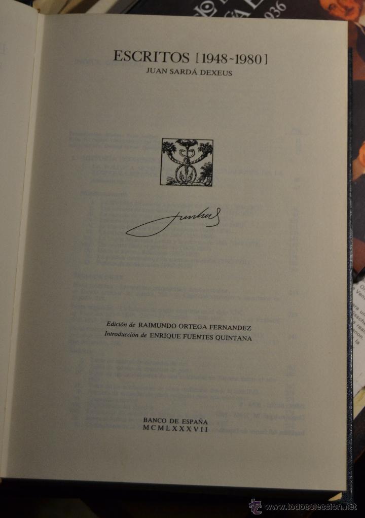 Libros de segunda mano: ESCRITOS (1948-1980) JUAN SARDA DEXEUS. BANCO DE ESPAÑA - dedicatoria autor a MARIANO RUBIO - Foto 4 - 54594373