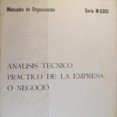 Libros de segunda mano: ANÁLISIS TÉCNICO PRÁCTICO DE LA EMPRESA O NEGOCIO. MANUALES DE ORGANIZACIÓN.. Lote 55028956