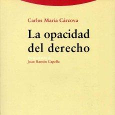 Libros de segunda mano: LA OPACIDAD DEL DERECHO - CARLOS MARÍA CÁRCOVA. Lote 55037688