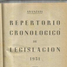 Libros de segunda mano: REPERTORIO CRONOLÓGICO DE LEGISLACIÓN. EDITORIAL ARANZADI. PAMPLONA. 1951. Lote 55231323