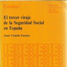 Libros de segunda mano: EL TERCER VIRAJE DE LA SEGURIDAD SOCIAL EN ESPAÑA. JUAN VELARDE FUERTES. MADRID. 1990. Lote 186588603
