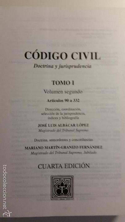 Libros de segunda mano: Código civil. 14 Tomos. Doctrina y jurisprudencia. ALBÁCAR LÓPEZ, J.L. 8 volúmenes + 6 actualiz. - Foto 6 - 55993032