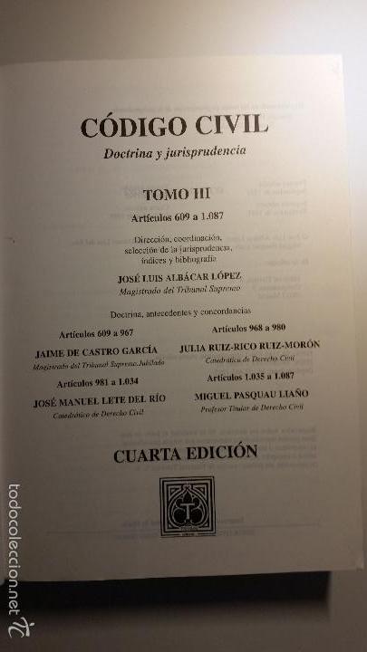 Libros de segunda mano: Código civil. 14 Tomos. Doctrina y jurisprudencia. ALBÁCAR LÓPEZ, J.L. 8 volúmenes + 6 actualiz. - Foto 8 - 55993032