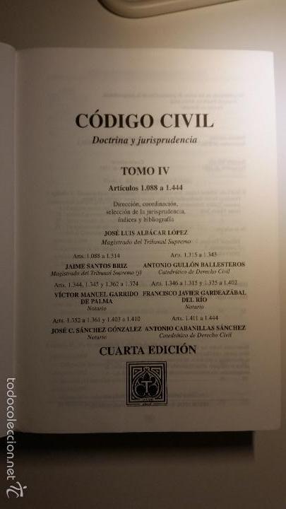 Libros de segunda mano: Código civil. 14 Tomos. Doctrina y jurisprudencia. ALBÁCAR LÓPEZ, J.L. 8 volúmenes + 6 actualiz. - Foto 9 - 55993032