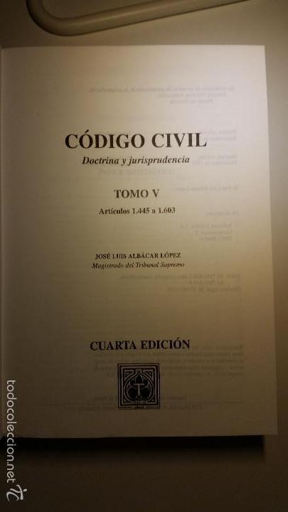 Libros de segunda mano: Código civil. 14 Tomos. Doctrina y jurisprudencia. ALBÁCAR LÓPEZ, J.L. 8 volúmenes + 6 actualiz. - Foto 10 - 55993032