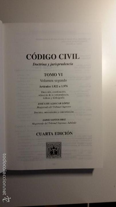 Libros de segunda mano: Código civil. 14 Tomos. Doctrina y jurisprudencia. ALBÁCAR LÓPEZ, J.L. 8 volúmenes + 6 actualiz. - Foto 12 - 55993032