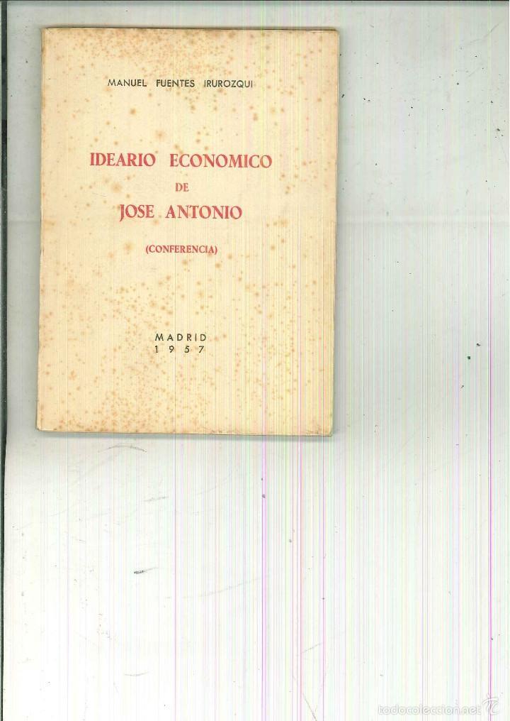 IDEARIO ECONÓMICO DE JOSÉ ANTONIO. (CONFERENCIA). MANUEL FUENTES IRUROZQUI (Libros de Segunda Mano - Ciencias, Manuales y Oficios - Derecho, Economía y Comercio)