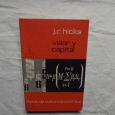 Libros de segunda mano: VALOR Y CAPITAL POR J,. R. HICKS. Lote 56698549