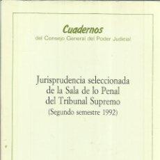 Libros de segunda mano: JURISPRUDENCIA DE LA SALA DE LO PENAL DEL TRIBUNAL SUPREMO. CONSEJO GENERAL DEL PODER JUDICIAL.1991. Lote 56714542