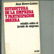 Libros de segunda mano: ESTRUCTURA DE LA EMPRESA Y PARTICIPACIÓN OBRERA. JUAN RIVERO LAMAS. Lote 57190130