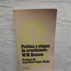 Libros de segunda mano: POLITICA Y ETAPAS DE CRECIMIENTO POR W.W. ROSTOW. Lote 57192781