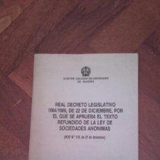 Libros de segunda mano - Real Decreto Legislativo 1564/1989 de 22 de diciembre Texto Refundido Ley Sociedades Anónimas - 57814011
