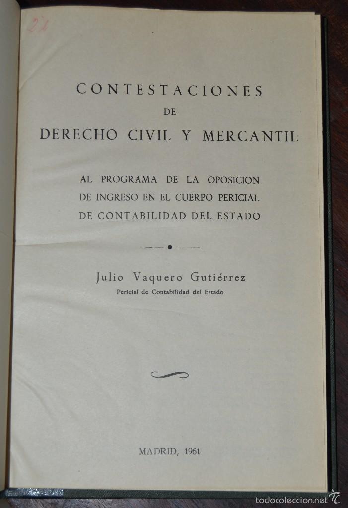 JOSE BAREA TEJEIRO. CONTESTACIONES DE DERECHO CIVIL , MERCANTIL Y SOCIAL MADRID 1961.PERICIAL (Libros de Segunda Mano - Ciencias, Manuales y Oficios - Derecho, Economía y Comercio)