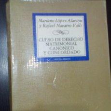 Libros de segunda mano: DERECHO CANONICO Y CONCORDADO M. LÓPEZ ALARCÓN Y RAFAEL NAVARRO-VALLS. Lote 60691355