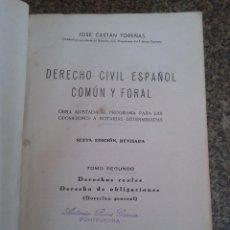 Libros de segunda mano: DERECHO CIVIL ESPAÑOL, COMUN Y FORAL -- TOMO SEGUNDO - JOSE CASTAN TOBEÑAS - EDITORIAL REUS - 1943 -. Lote 61978120