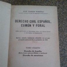Libros de segunda mano: DERECHO CIVIL ESPAÑOL, COMUN Y FORAL -- TOMO CUARTO - JOSE CASTAN TOBEÑAS - EDITORIAL REUS - 1942 -. Lote 61978504