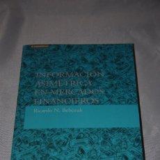 Libros de segunda mano: INFORMACION ASIMETRICA EN MERCADOS FINANCIEROS. Lote 62144664