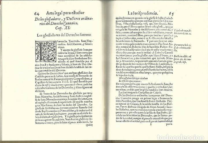 Libros de segunda mano: FACSIMIL ARTE LEGAL PARA ESTUDIAR LA JURISPRUDENCIA. FCO.BERMUDEZ DE PEDRADA. SALAMANCA 1612 - Foto 4 - 63356608