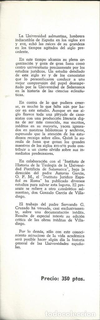 Libros de segunda mano: Servando GARCIA CRUZADO. GONZALO GARCÍA DE VILLADIEGO, CANONISTA SALMANTINO DEL SIGLO XV. CSIC 1968 - Foto 2 - 64060575