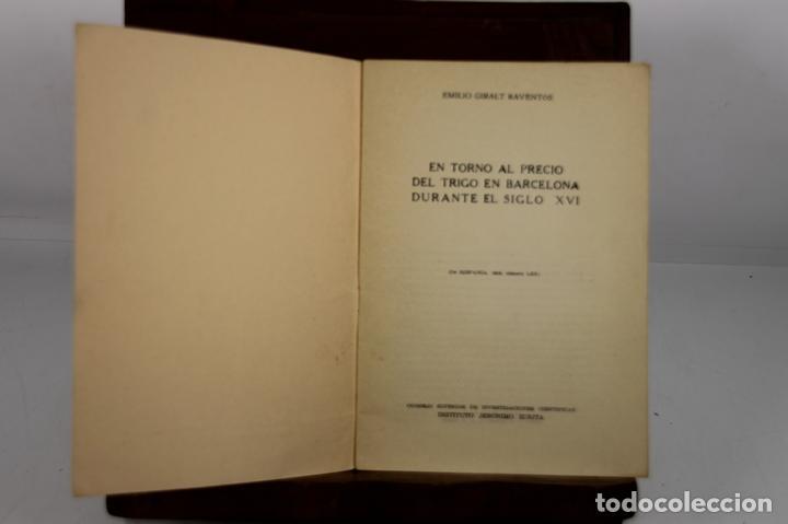 4940- EN TORNO AL PRECIO DEL TRIGO EN BARCELONA. EMILIO GIRALT. EDIT. INST. JERONIMO. 1958. (Libros de Segunda Mano - Ciencias, Manuales y Oficios - Derecho, Economía y Comercio)