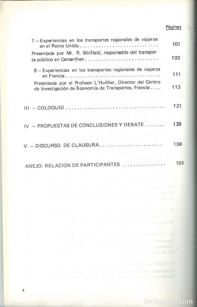 Libros de segunda mano: ORGANIZACION DE LOS TRANSPORTES REGIONALES DE VIAJEROS. TRANSPORTE ESCOLAR. SANTIAGO COMPOSTELA 1980 - Foto 4 - 64391215
