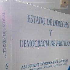 Libros de segunda mano: LIBRO CASI NUEVO ESTADO DE DERECHO Y DEMOCRACIA DE PARTIDOS. Lote 64818735