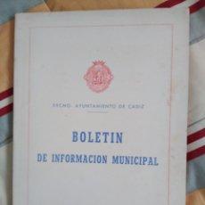 Libros de segunda mano: BOLETIN DE INFORMACION MUNICIPAL EXCMO.AYUNTAMIENTO DE CADIZ 1971 135 PAGINAS FORMATO GRANDE. Lote 67832621