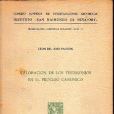 Libros de segunda mano: VALORACIÓN DE LOS TESTIMONIOS EN EL PROCESO CANÓNICO (L. DEL AMO 1969) SIN USAR. Lote 69000481