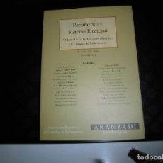 Libros de segunda mano: PARLAMENTO Y SISTEMA ELECTORAL.VI.JORNADAS DE LA ASOCIACION ESPAÑOLA DE LETRADOS PARLAMENTOS. Lote 130776491