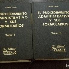 Libros de segunda mano: EL PROCEDIMIENTO ADMINISTRATIVO Y SUS FORMULARIOS, 2 TOMOS.. Lote 75004731