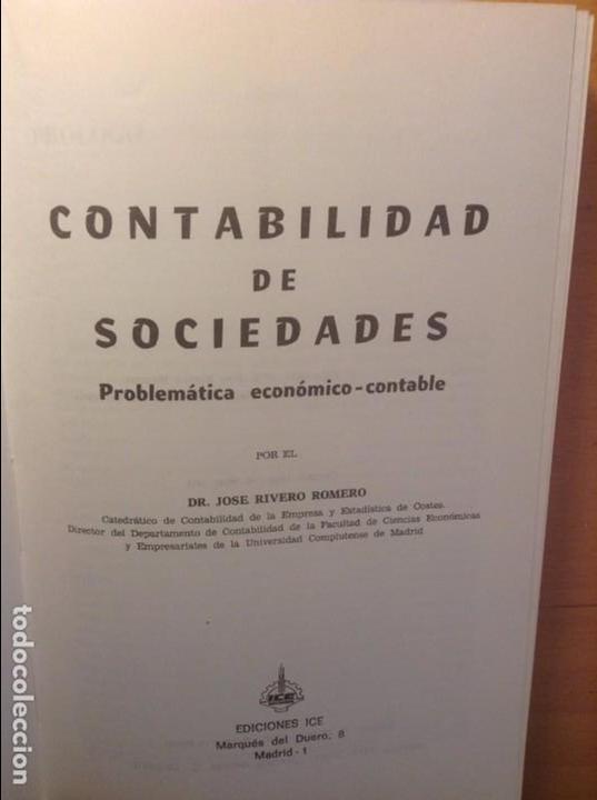 Libros de segunda mano: CONTABILIDAD DE SOCIEDADES - JOSE RIVERO - - Foto 2 - 75128883