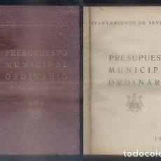 Libros de segunda mano: AYUNTAMIENTO DE SEVILLA. PRESUPUESTO MUNICIPAL ORDINARIO PARA EL AÑO 1944.- A-LSEV-1341.. Lote 85076124