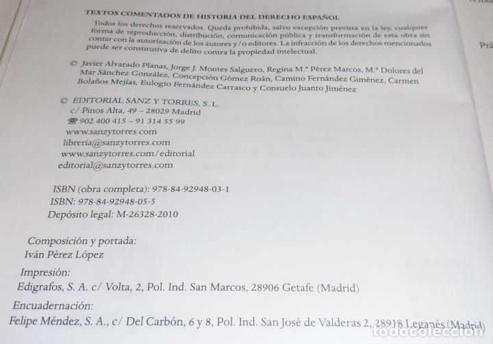 Libros de segunda mano: HISTORIA DEL DERECHO ESPAÑOL Y TEXTOS COMENTADOS DEL DERECHO ESPAÑOL - Foto 8 - 86063244