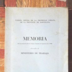 Libros de segunda mano: MEMORIA 1948 CÁMARA OFICIAL DE LA PROPIEDAD URBANA DE LA PROVINCIA DE BARCELONA BON ESTAT MAPES. Lote 88839552