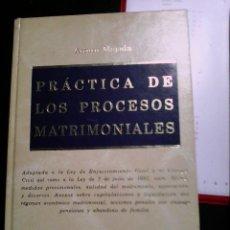 Libros de segunda mano: PRÁCTICA DE LOS PROCESOS MATRIMONIALES. Lote 89693400
