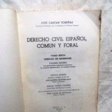 Livros em segunda mão: DERECHO CIVIL ESPAÑOL COMUN Y FORAL TOMO SEXTO DERECHO DE SUCESIONES VOLUMEN SEGUNDO DE JOSE CASTAN . Lote 90644055