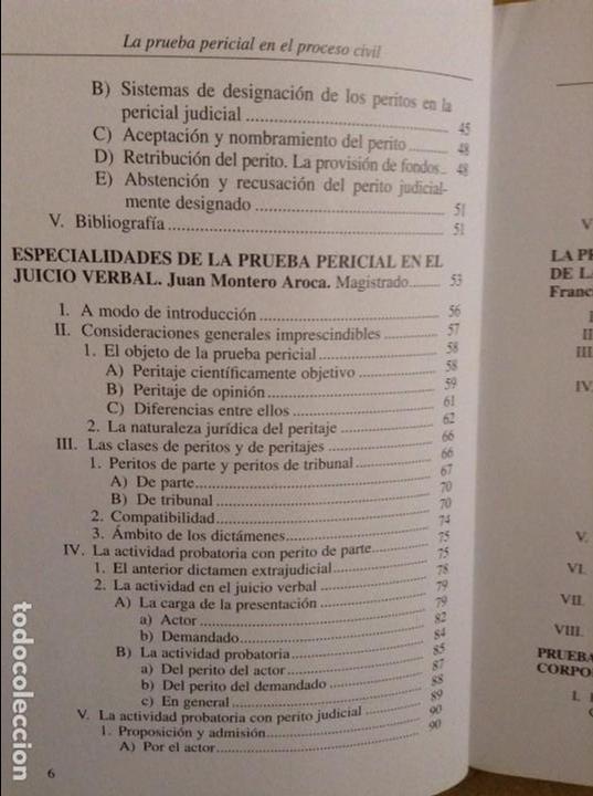 Libros de segunda mano: LA PRUEBA PERICIAL EN EL PROCESO CIVIL (CONSEJO GENERAL DEL PODER JUDICIAL) - Foto 5 - 95541667