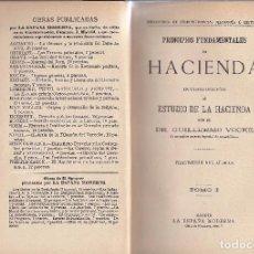 Libros de segunda mano: LIBRO PRINCIPIOS FUNDAMENTALES DE HACIENDA. 2 TOMOS. VOCKE.. Lote 97673063