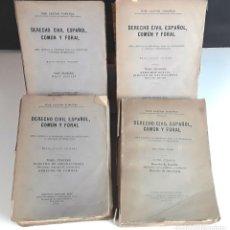 Libros de segunda mano: DERECHO CIVIL ESPAÑOL, COMÚN Y FORAL. 4 TOMOS. INST. EDITORIAL REUS. 1943/1944.. Lote 98444995