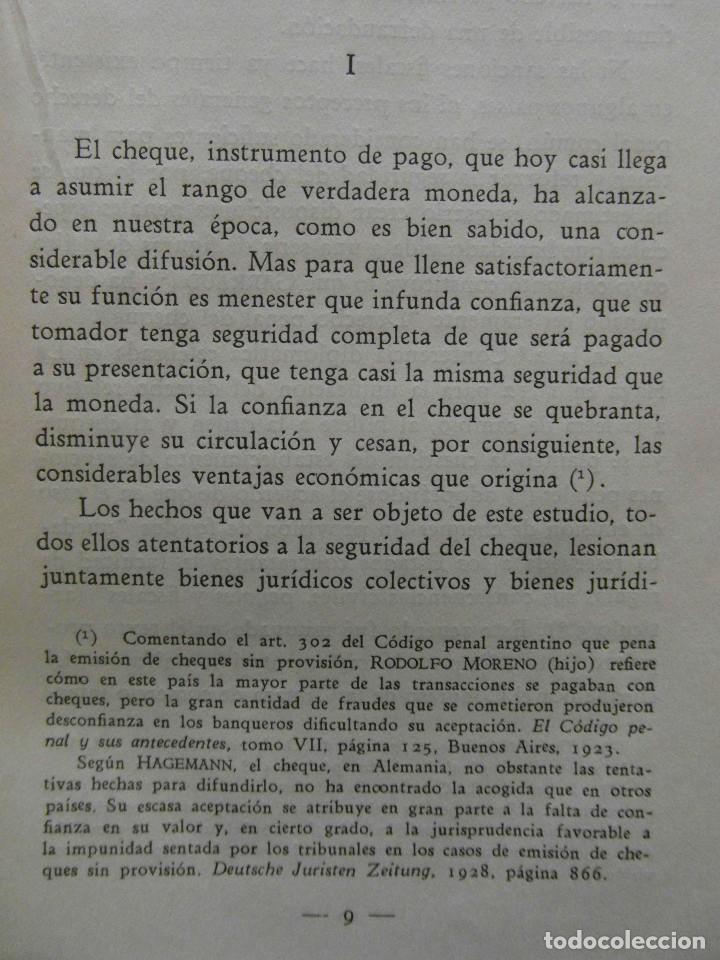Libros de segunda mano: La protecion penal del cheque. Eugenio Cuello Calon. Bosch Editores. 1944 - Foto 2 - 99103035