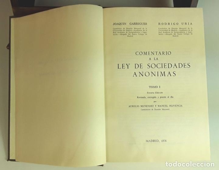 Libros de segunda mano: COMENTARIO A LA LEY DE SOCIEDADES ANÓNIMAS. 2 TOMOS. IMPRENTA AGUIRRE. 1976. - Foto 2 - 99346963