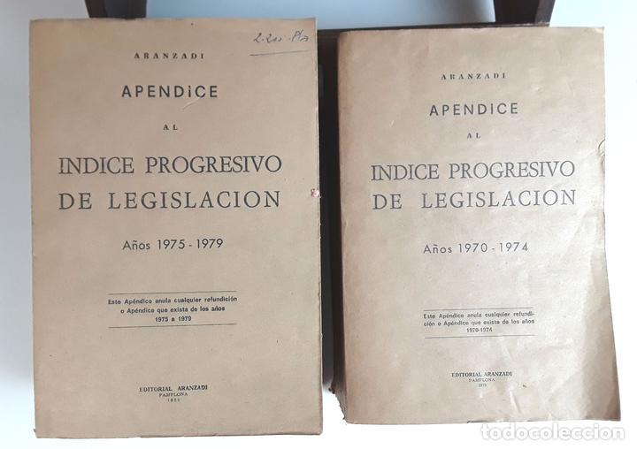 APÉNDICES AL ÍNDICE PROGRESIVO DE LEGISLACIÓN. 2 TOMOS. EDIT. ARANZADI. 1975/1980. (Libros de Segunda Mano - Ciencias, Manuales y Oficios - Derecho, Economía y Comercio)