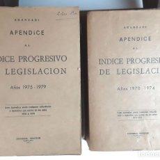 Libros de segunda mano: APÉNDICES AL ÍNDICE PROGRESIVO DE LEGISLACIÓN. 2 TOMOS. EDIT. ARANZADI. 1975/1980.. Lote 99941083